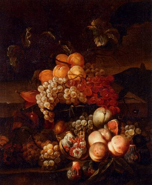 Still Life Of Grapes Peaches And Figs With A Landscape Beyond